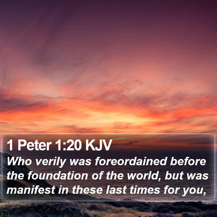 1 Peter 1:20 KJV - Who verily was foreordained before the foundation - Bible Verse Picture