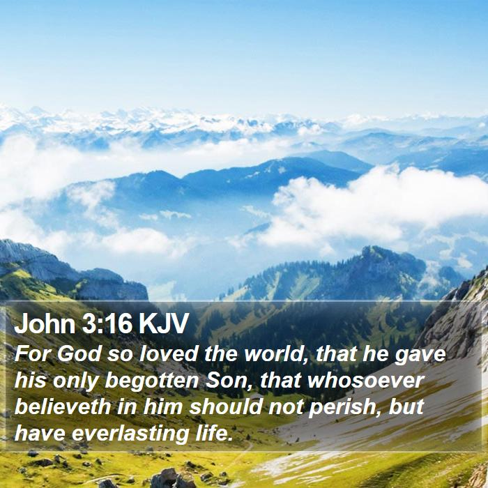 John 3:16 KJV - For God so loved the world, that he gave his only - Bible Verse Picture