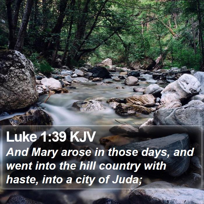 Luke 1:39 KJV - And Mary arose in those days, and went into the - Bible Verse Picture